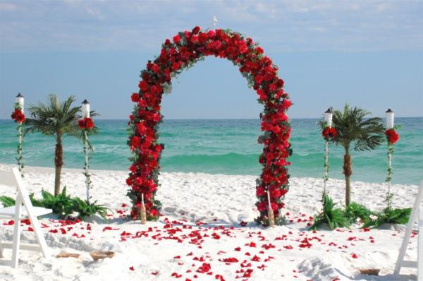 Barefoot Bed of Roses wedding arch Barefoot Beach Weddings in Destin