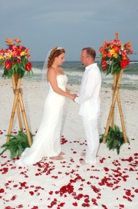 Tropical themed barefoot beach weddings