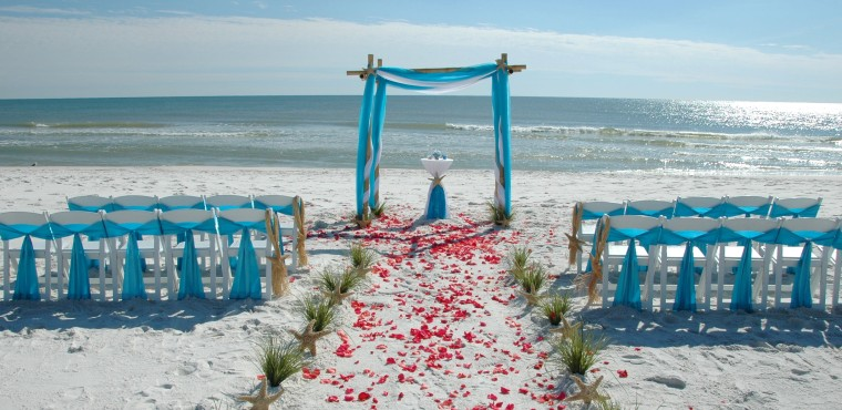 Barefoot Weddings offers a variety of colors for your beach wedding arbor